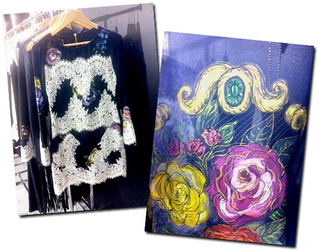 As flores pintadas em tecido de Eduardo Amarante (Foto: Karine Vilas Boas)