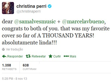 Tweet Christian Perri Sam Marcela (Foto: Reprodução/Internet)
