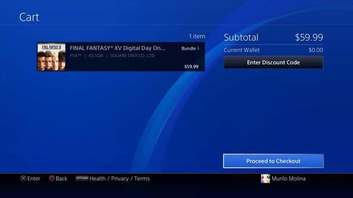 Baixe o Final Fantasy XV no PS4 (Foto: Reprodução/Murilo Molina)
