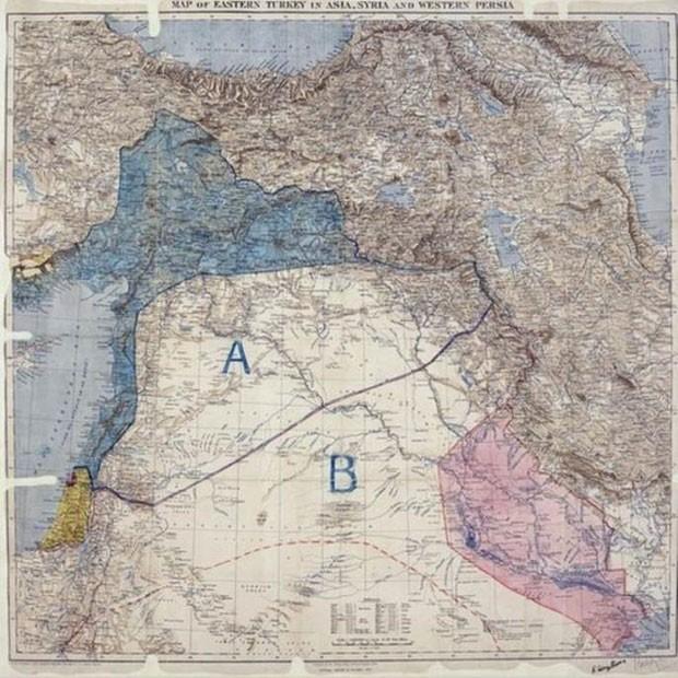 O mapa foi traçado com uma linha da Pérsia ao rio Jordão  (Foto: National Archives/BBC)