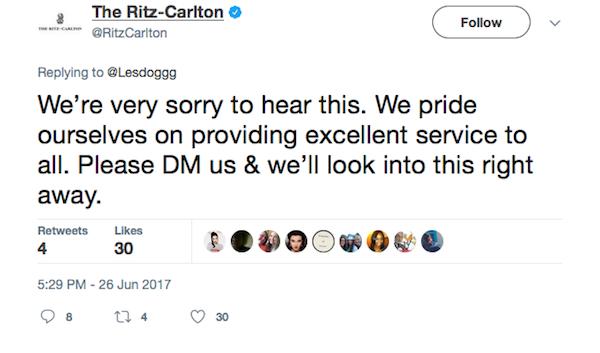 O pedido de desculpas do hotel no qual a atriz Leslie Jones ficou hospedada (Foto: Twitter)