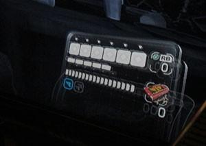 Tela de Leon Kennedy tem visor para mostrar informações de vida e munição. Cada personagem tem um visor diferente (Foto: Gustavo Petró/G1)