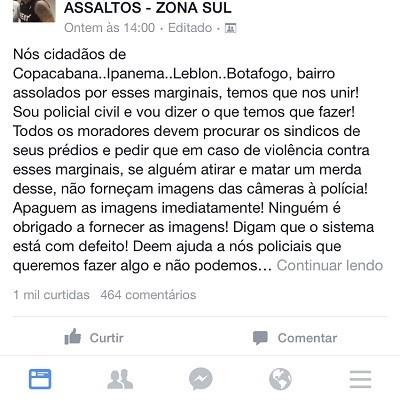 Assaltos na Zona Sul no Facebook