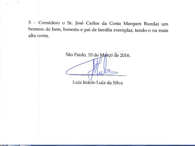 Último trecho da declaração enviada pelo advogado de Lula (Foto: Reprodução/Justiça Federal)