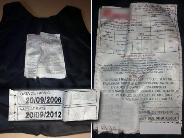 Coletes da Guarda Municipal de Mairinque estão vencidos há quase quatro anos (Foto: Divulgação / Sindicato dos Servidores Públicos Municipais de Mairinque)