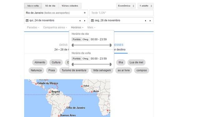 Google Flights tem diversas opções de filtros que ajudam na usabilidade