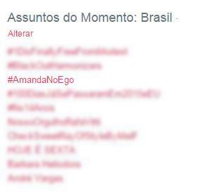 Amanda no EGO nos Trending Topics do Twitter (Foto: Twitter / Reprodução)