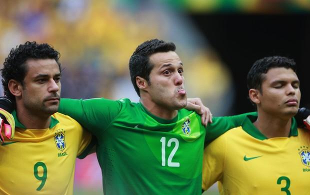 Fred, Julio Cesar e Thiago Silva, Brasil x Japão (Foto: Getty Images)