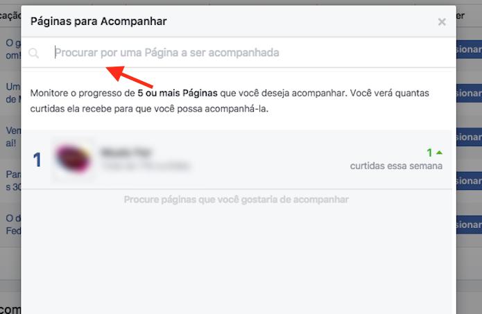 Ferramenta de busca da ferramenta que comparar páginas concorrente no Facebook (Foto: Reprodução/Marvin Costa)