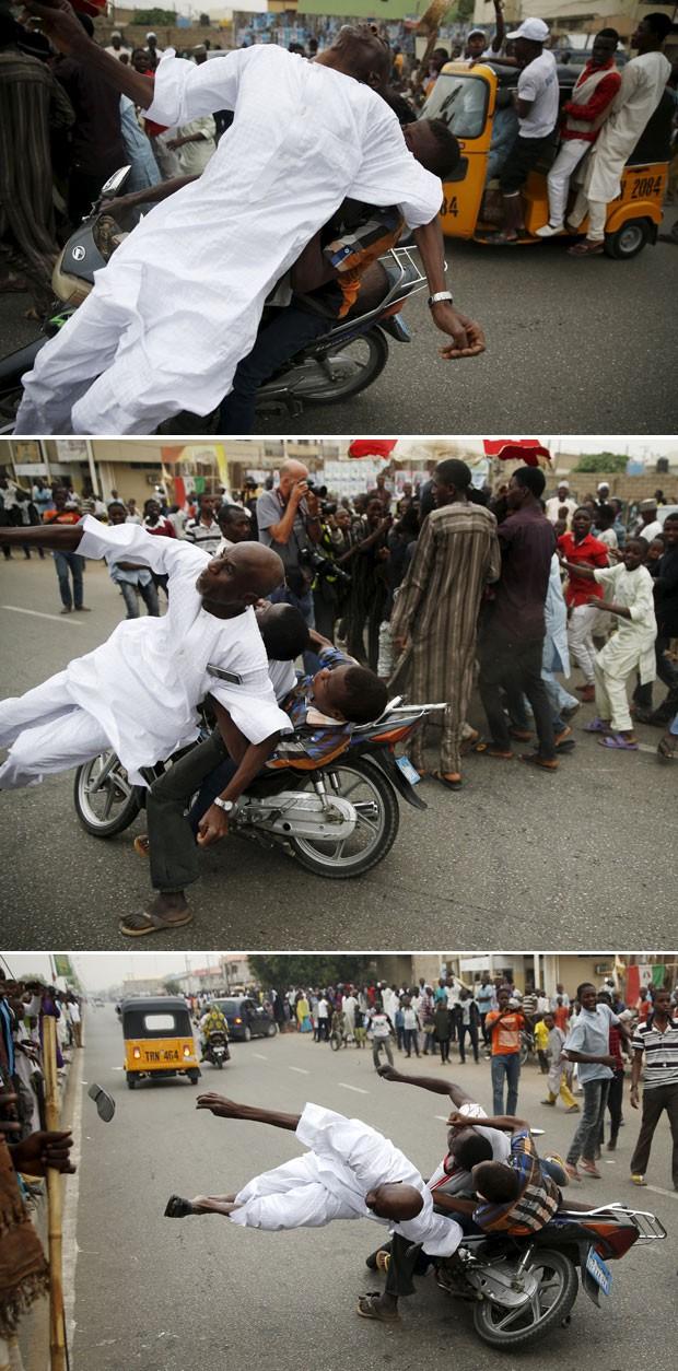 Sequência mostra momento em que apoiadores do candidato à presidência da Nigéria Muhammadu Buhari atropelam um colega que também festejava nas ruas em Kano (Foto: Goran Tomasevic/Reuters)