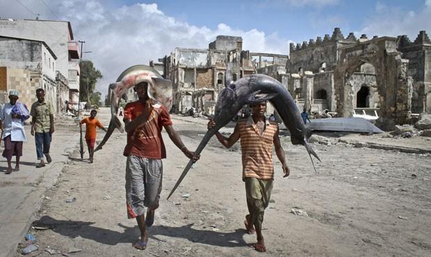 Em foto de 25 de outubro de 2012, pescadores carregam tubarão e peixe-espada sobre a cabeça (Foto: Farah Abdi Warsameh/AP)