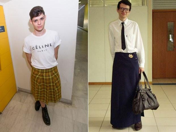 Vitor Pereira e Augusto Paz são dois dos alunos de têxtil e moda da USP Leste que cultivam o hábito de vestir saia (Foto: Flávio Moraes/G1/Arquivo pessoal)