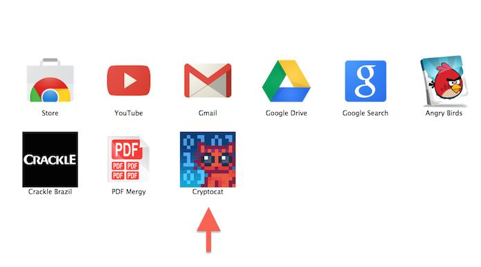 Acessando o aplicativo CryptoCat no Google Chrome (Foto: Reprodução/Marvin Costa)
