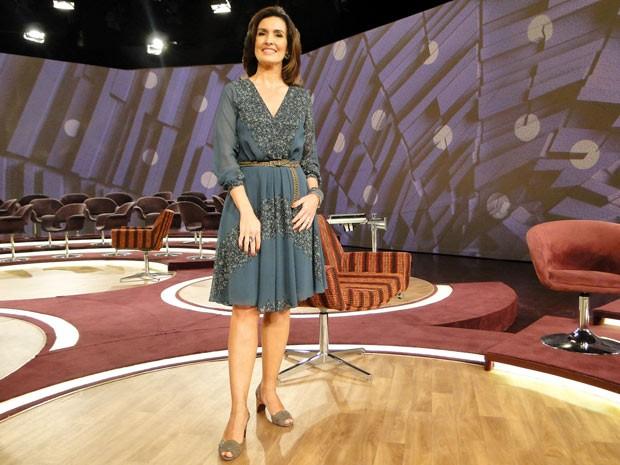 Fátima Bernardes com look desta segunda-feira, 09-07 (Foto: Encontro com Fátima Bernardes/TV Globo)