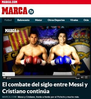 Site espanhol compara briga Messi x CR7 com Mayweather x Pacquiao (Foto: Reprodução)