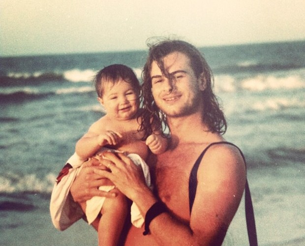 Rafael com sete meses, no colo do pai, João Vitti (Foto: Arquivo Pessoal)