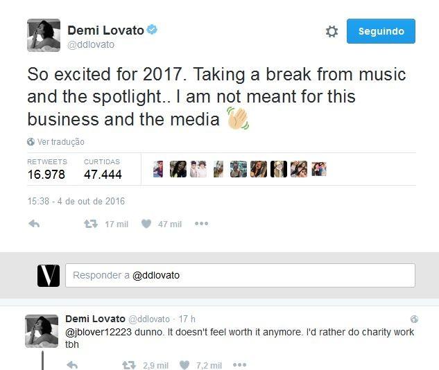 Demi Lovato no Twitter (Foto: Reprodução)