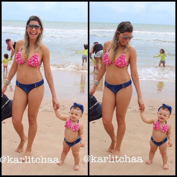 Karla, ex-bbb, com filha Carolina (Foto: Instagram / Reprodução)