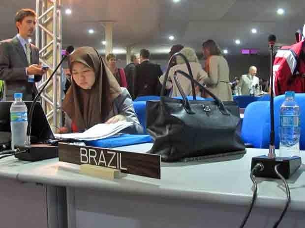 Posição da delegação brasileira na plenária da Rio+20 (Foto: Giovana Sanchez/G1)