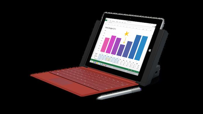 Surface 3 com a capa, caneta e a dock (Foto: Divulgação/Microsoft)