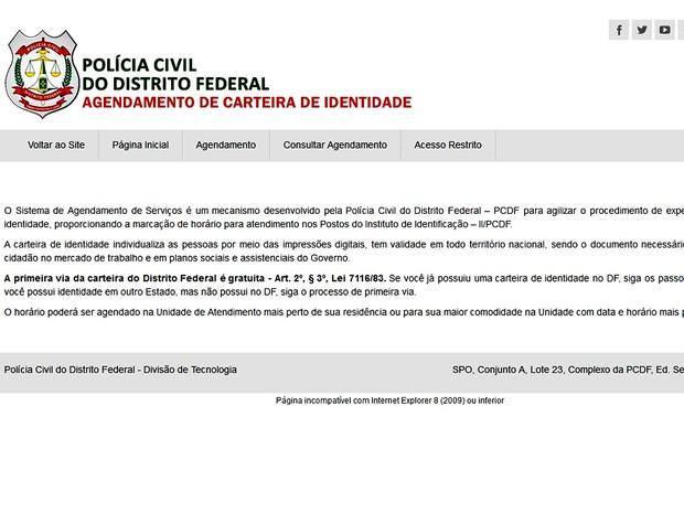 Página na internet do Sistema de Agendamento de Serviços, da Polícia Civil, que permite marcar data e hora para requerer carteira de identidade no DF (Foto: Reprodução)