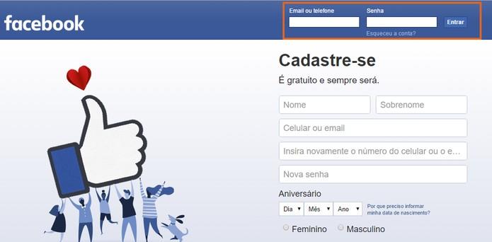 Acesse o Facebook com seu nome de usuário e senha (Foto: Reprodução/Barbara Mannara)