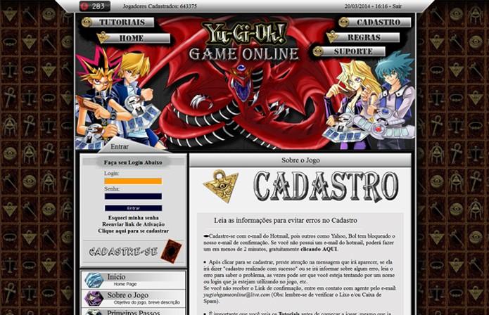 O cadastro em Yu-Gi-Oh Online é bem simples e fácil de fazer (Foto: Reprodução/ Matheus Vasconcellos)