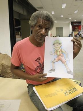 Criança Esperança: Ronaldo Rocha e o desenho que fez do Pinocchio gigante para a rapsódia italiana do show (Foto: Divulgação / Christina Fuscaldo)