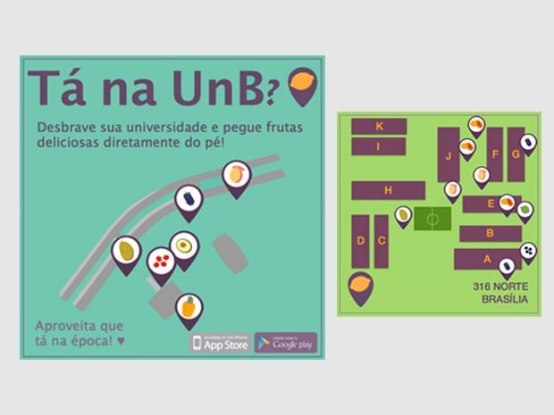 Mapa da UnB e de uma quadra na Asa Norte mostra onde encontrar pomares (Foto: Fruit Map/Divulgação)