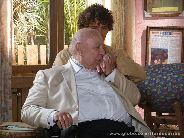 Na maior cara de pau, Dionísio beija a mão de Candinho (Foto: Flor do Caribe / TV Globo)