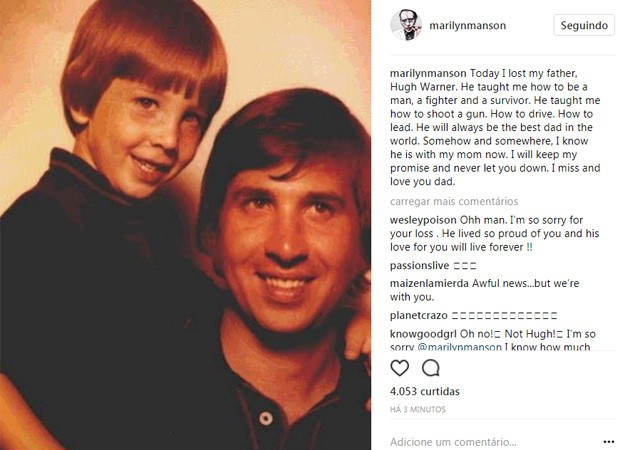 Marilyn Manson na infância com o pai, Hugh Warner (Foto: Reprodução/Instagram)