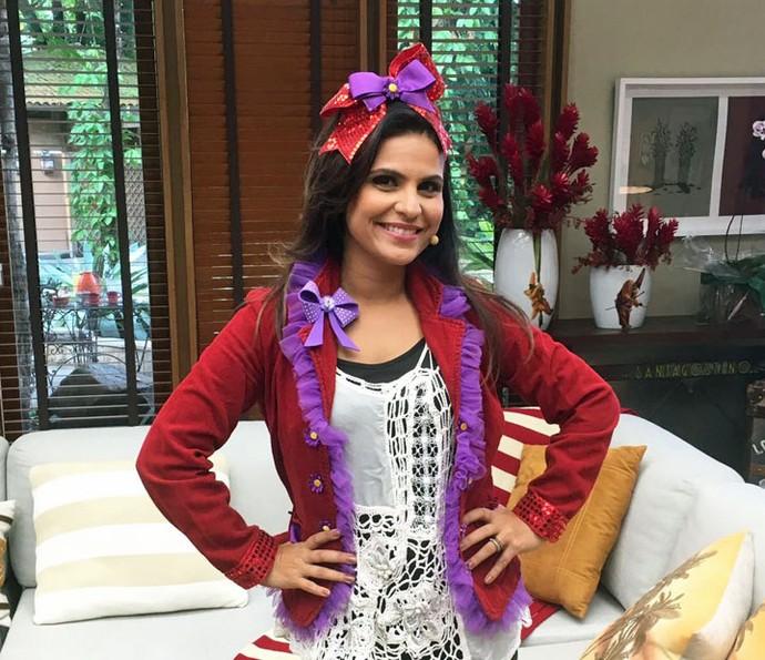 Aline Barros esteve no 'É de Casa' do último sábado, 14/5 (Foto: Thaís Dias/Gshow)
