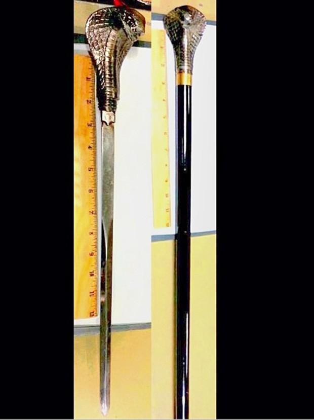Em 23/10, uma espada com cabeça de naja foi descoberta dentro de uma bengala no aeroporto de LaGuardia, em Nova York (Foto: Reprodução/Instagram/TSA)