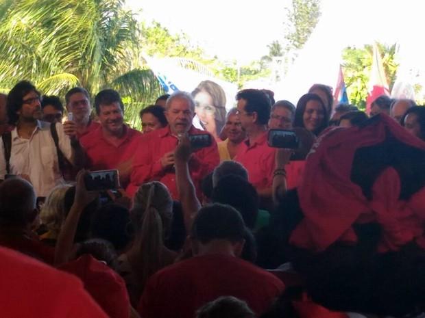 Lula participou de eventos com o candidato a Prefeitura de Natal Fernando Mineiro (Foto: Fernanda Zauli/ G1)