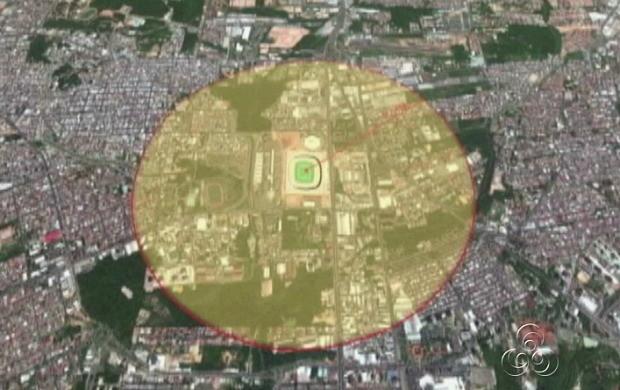 Um raio de 1 km do entorno da Arena da Amazônia será bloqueado (Foto: Amazônia TV)