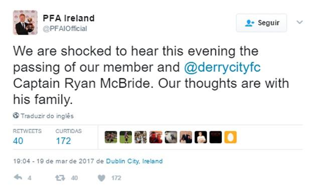 Federação Irlandesa de Futebol lamentou morte do jogador Ryan McBride (Foto: Reprodução)