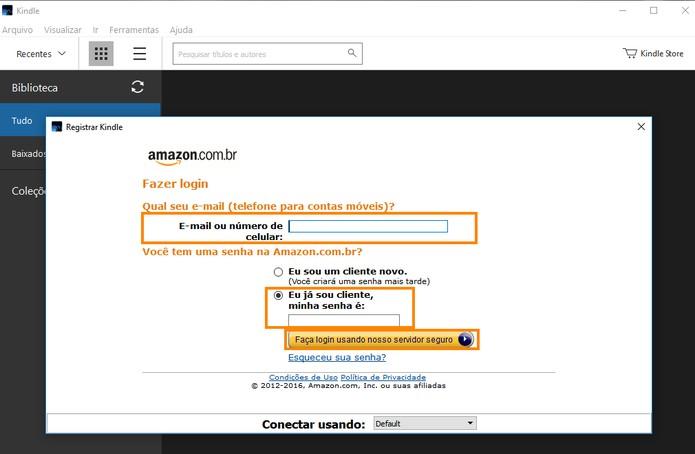 Faça o login no Kindle para PC com a conta Amazon (Foto: Reprodução/Barbara Mannara)