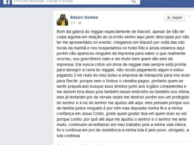 Edson Gomes lamentou o ocorrido e disse que foi vítima de calote (Foto: Reprodução/ Facebook)