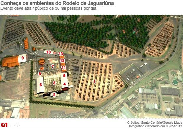 Arena do Rodeio de Jaguariúna (Foto: Arte / G1 Campinas)