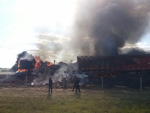 Acidente com 6 veículos deixa ao menos 4 mortos, dizem bombeiros em Goiás (Foto: Divulgação/PRE)