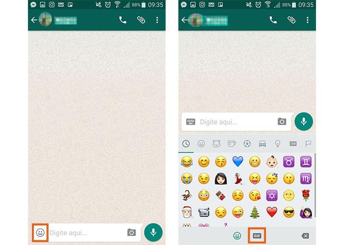 Acesse o botão de GIF no WhatsApp (Foto: Reprodução/Barbara Mannara)