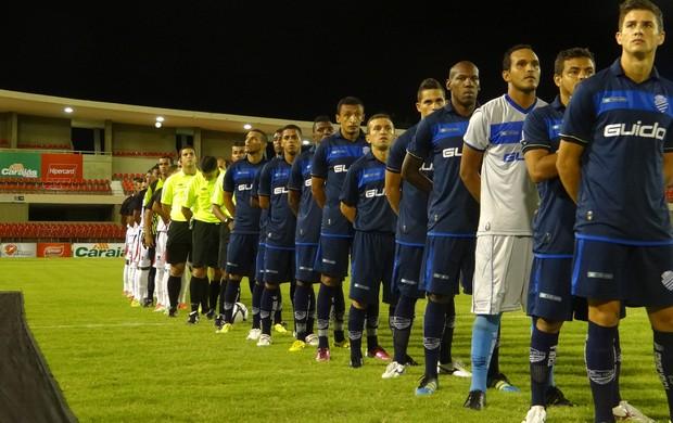 Jogadores do CSA e Corinthians-AL perfilados (Foto: Caio Lorena / Globoesporte.com)
