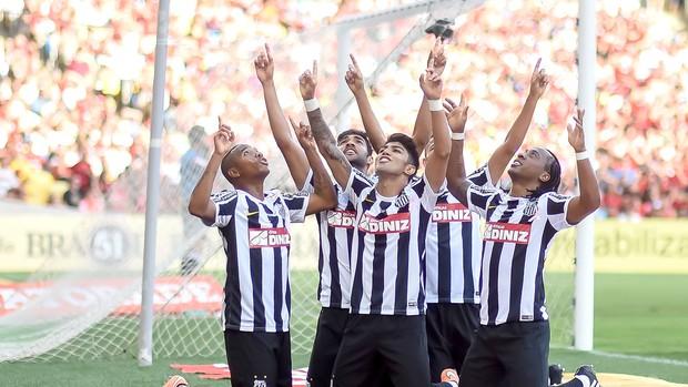 Comemoração do Santos contra o Flamengo (Foto: Ide Gomes / Agência estado)