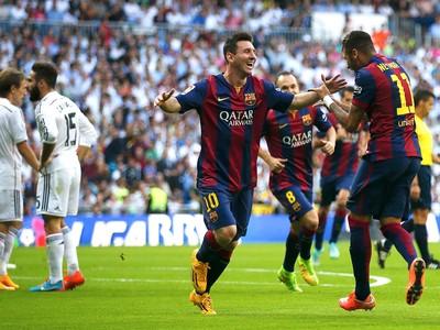 Comemoração Neymar e Messi, Real Madrid x Barcelona (Foto: Reuters)