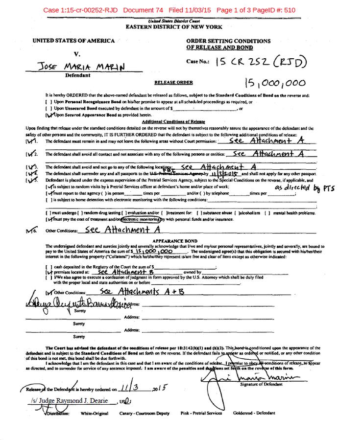 Documento Marin justiça americana pagina 1 (Foto: Reprodução)