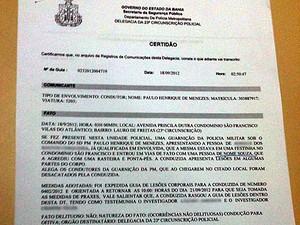 boletim de ocorrência contra jogador souza (Foto: Tiago Pereira/Globoesporte.com)