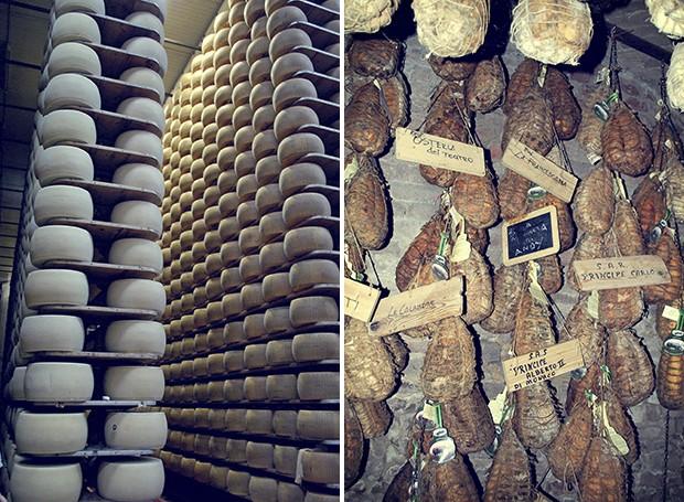Os galpões das latterias especializadas em parmigiano reggiano guardam milhares de peças do tradicional queijo | Ainda no processo de cura, peças do valiosíssimo culatello já são reservadas a príncipes e restaurantes estrelados (Foto: Cíntia Marcucci)