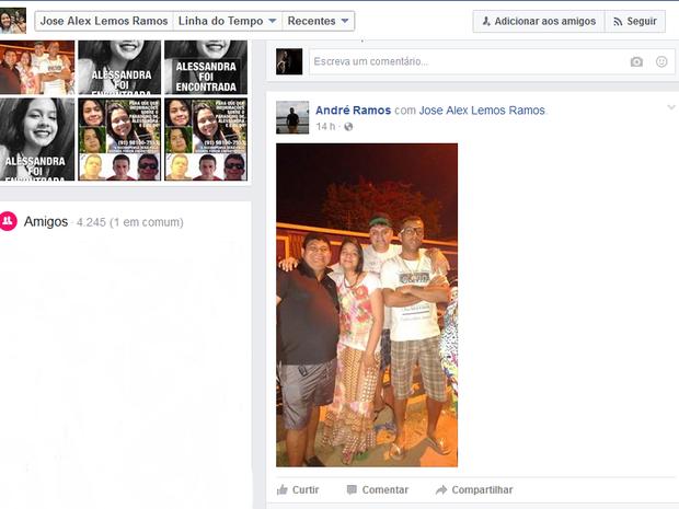 Pai e familiares de Alessandra Ramos encontram adolescente no interior do Maranhão 2 (Foto: Reprodução/Facebook/José Alex Lemos Ramos)
