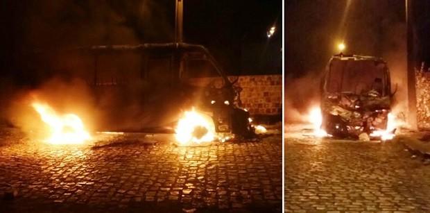 Em Assu, micro-ônibus foi totalmente tomado pelas chamas (Foto: Francisco Coelho/Focoelho.com)