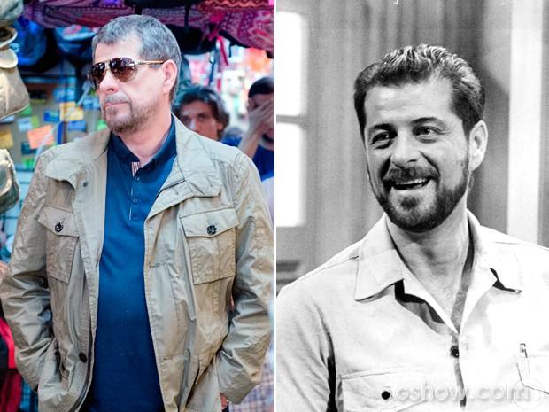 O ator atualmente, como Reginaldo, e na novela 'Tieta' (1989) (Foto: Divulgação/TV Globo/Cedoc)